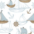 Boat graphic blue brown color sketch seamless pattern illustration