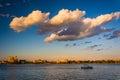 Boat in the harbor in Boston, Massachusetts. Royalty Free Stock Photo