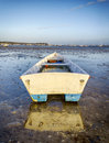 Boat in the harbour a moored at sandbanks poole dorset Stock Images