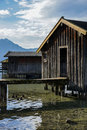 Boat house on bavarian lake a a clear mountain Stock Photos