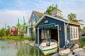 Boat house beside the river in bangkok Stock Images