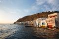 Boat houses, Milos island, Greece. Royalty Free Stock Photo