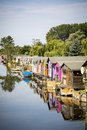 Boat houses in summer Royalty Free Stock Photo