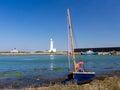 Boat at hurst spit hampshire small sailing moored near milford on sea england uk europe Royalty Free Stock Photos