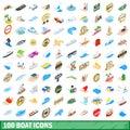 100 boat icons set, isometric 3d style