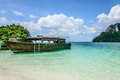 Boat for island hoping transportation use in andaman sea in krabi thailand Stock Photos
