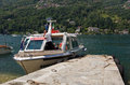 Boat on the lago maggiore for tourists in italy Stock Photos
