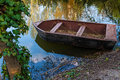 Boat on the lake photo of an old wooden a Stock Photography