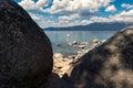 Boat on Lake Tahoe near Chimney Beach Royalty Free Stock Photo
