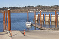 Boat launch pads and steel poles oregon state parks wooden platforms beams Stock Photo