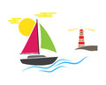 Boat lighthouse coast sun waves sea ocean. Vector illustration  on white background. Blue green pink brown. Royalty Free Stock Photo