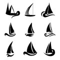 Boat logo elements set of boats ship design in black color Royalty Free Stock Photo