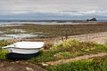 Boat at Low Tide in Normandy Royalty Free Stock Photo