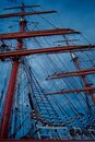 Boat mast and rigging by dramatic cloudy day Royalty Free Stock Photo