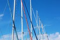 Boat masts in a row on sailboats Royalty Free Stock Image