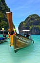 Boat in maya bay thailand long tail lies at the beach of the ko island phi phi ley Stock Photography