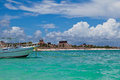 Boat Moored in a Mayan Riviera beach Stock Photography