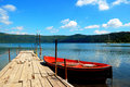 Boat moored to dock in lake castel gandolfo italy Royalty Free Stock Images