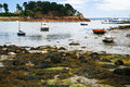 Boat mooring during low tide in ile de brehat brittany france Royalty Free Stock Photography