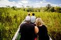 Boat navigating in the dense jungle at amazon river Royalty Free Stock Photo