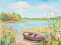 Boat near coast in canes Royalty Free Stock Photos