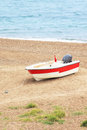 Boat near sea turkey white with red stripe Royalty Free Stock Photography