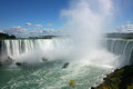 Boat and niagara falls landscape with from canada s side Stock Photography