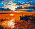 Boat original oil painting of boats and jetty pier on canvas rich golden sunset over ocean modern impressionism Royalty Free Stock Image