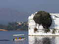 Boat and palace on lake in Udaipur Royalty Free Stock Image
