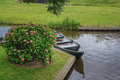 Boat parked on the canal near the beautiful hydrangea bush. Royalty Free Stock Photo