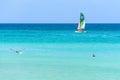 Boat, pelican and blue sea at Varadero Royalty Free Stock Photo