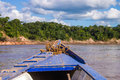 Boat in the peruvian rainforrest horizontal Stock Image