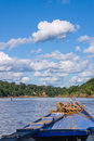 Boat in the peruvian rainforrest vertical Royalty Free Stock Images