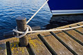 Boat pier tie Royalty Free Stock Photo
