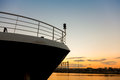 Boat prow close up passenger ship at sunset Royalty Free Stock Photos
