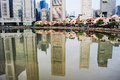 Boat quay in singapore with reflection in a river Stock Photography
