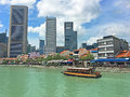 Boat Quay and Singapore River, Downtown Singapore Royalty Free Stock Photo