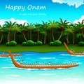 Boat race of kerla illustration on onam Royalty Free Stock Photo