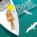 Boat recreation beautiful girl in white swimsuit sunbathing on the white board the yacht at sea Royalty Free Stock Photos
