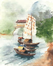 Boat on the river china landscape sail boat ancient watercolor painting illustration
