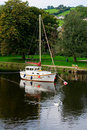 boat on a river Dart in Devon Royalty Free Stock Photo