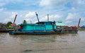 Boat on  River, Palembang, Sumatra, Indonesia. Stock Photos