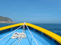 Boat with rope closeup bow of a for tourism a white mooring Stock Photo