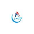 Boat sail vector logo