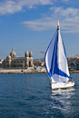 Boat sailing away from the old port of Marseille Stock Photos