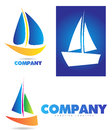 Boat sailing yacht logo icon set depicting a ship or Royalty Free Stock Image