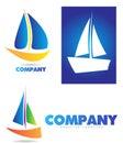 Boat sailing yacht logo icon set depicting a ship or Royalty Free Stock Image