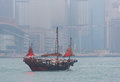 A boat sails in Victoria Harbor in Hong Kong
