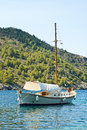 Boat on the sea kefalonia coast Royalty Free Stock Image