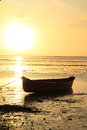 Boat sea sunset Stock Images